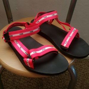 PINK Victoria's Secret Shoes - Pink Victoria's Secret Strappy Beach Slides